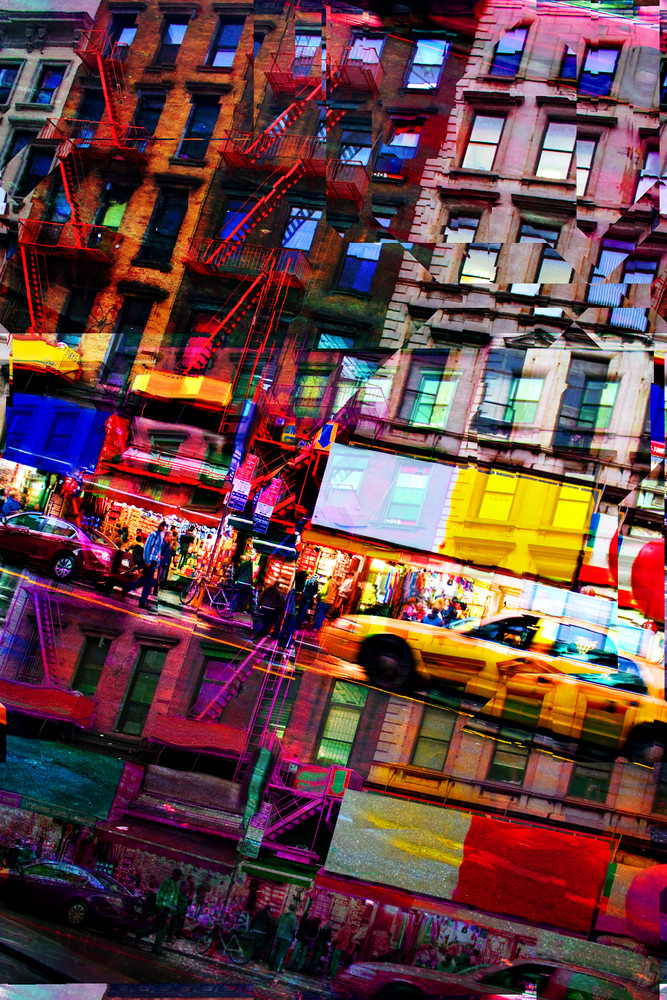 Abstract montage of city life with vivid colors.  This image tiles seamlessly as a pattern in any direction.  It works great as a website background texture.