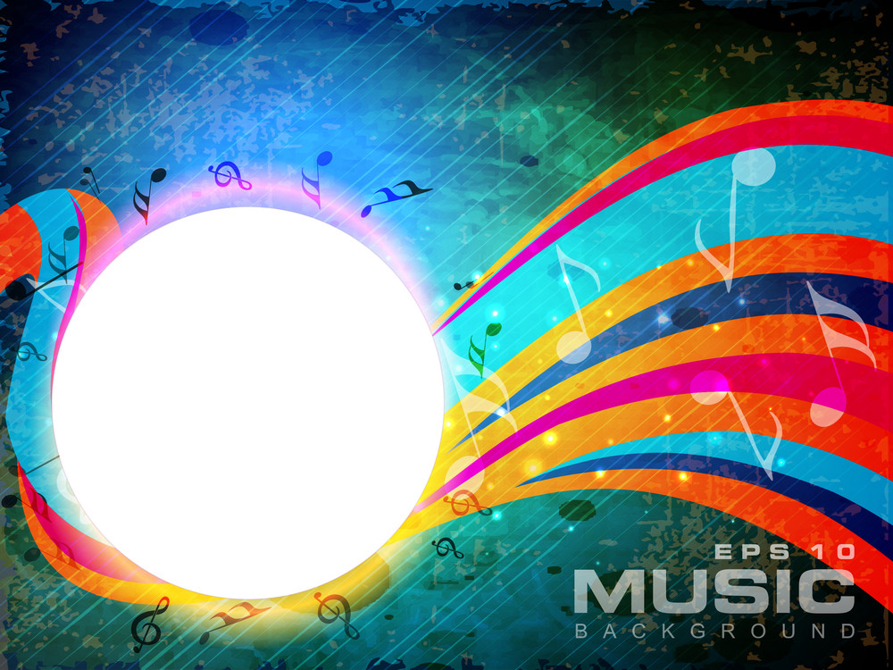 Abstract Music Background With Floral Wave Background.