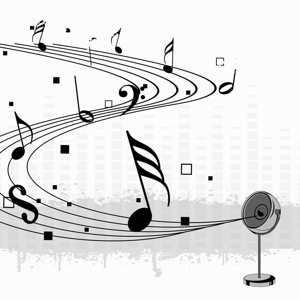 abstract music background with mike and musical symbols