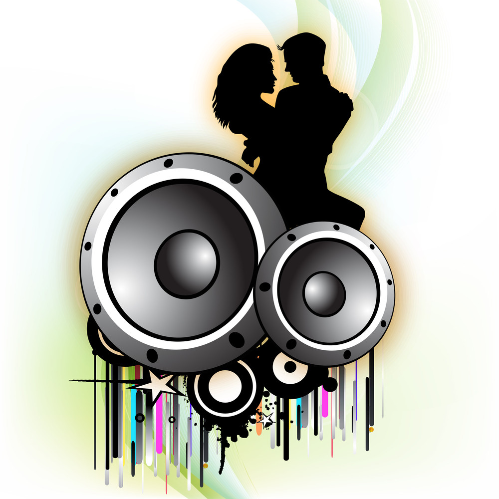 Abstract Music Background With Speakers.