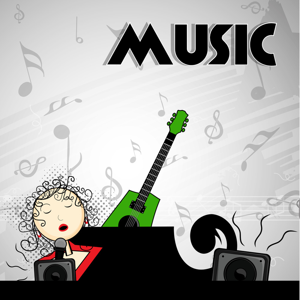 Abstract music background young singer girl with musical objects