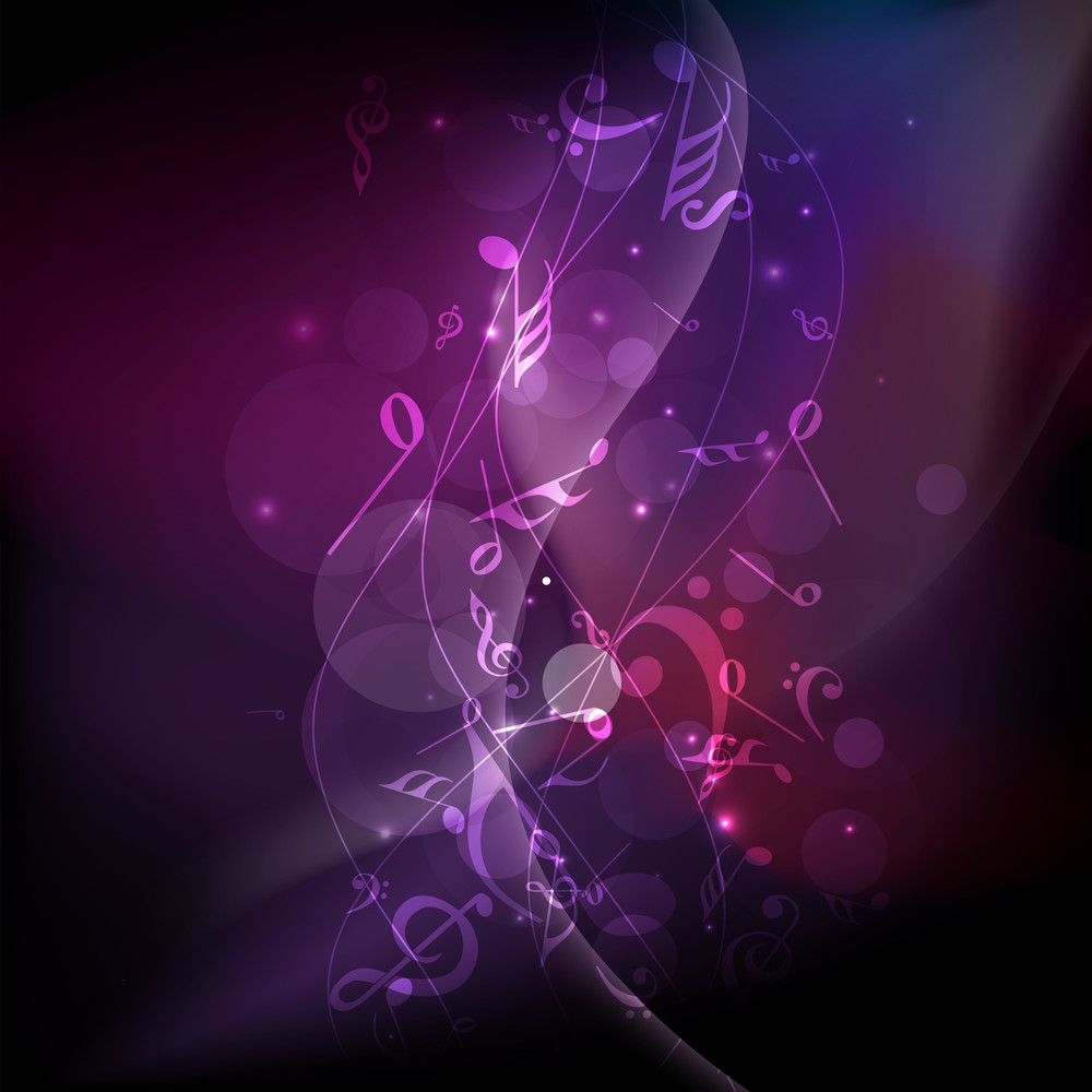 Abstract music notes wave  background