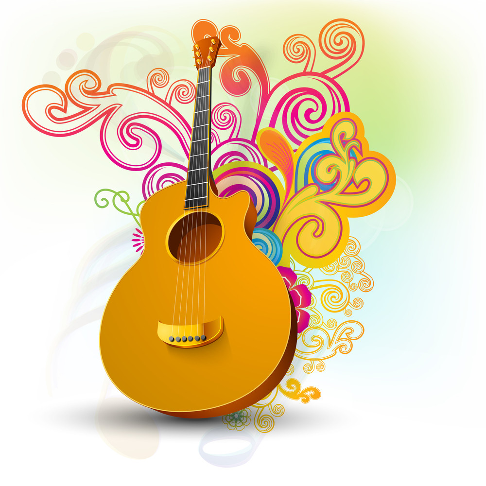 Abstract Musical Background With Guitar.