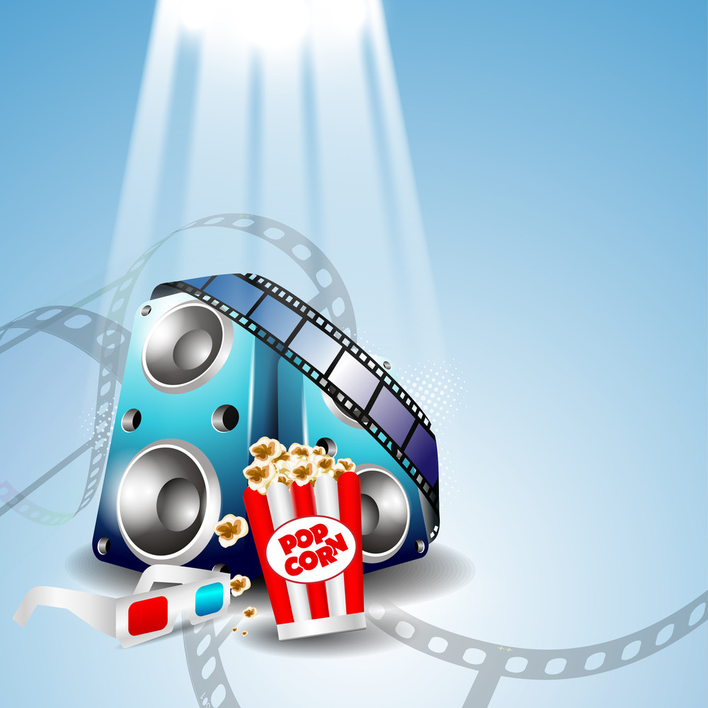 Abstract Musical Background With Movie Entertainment Objects .