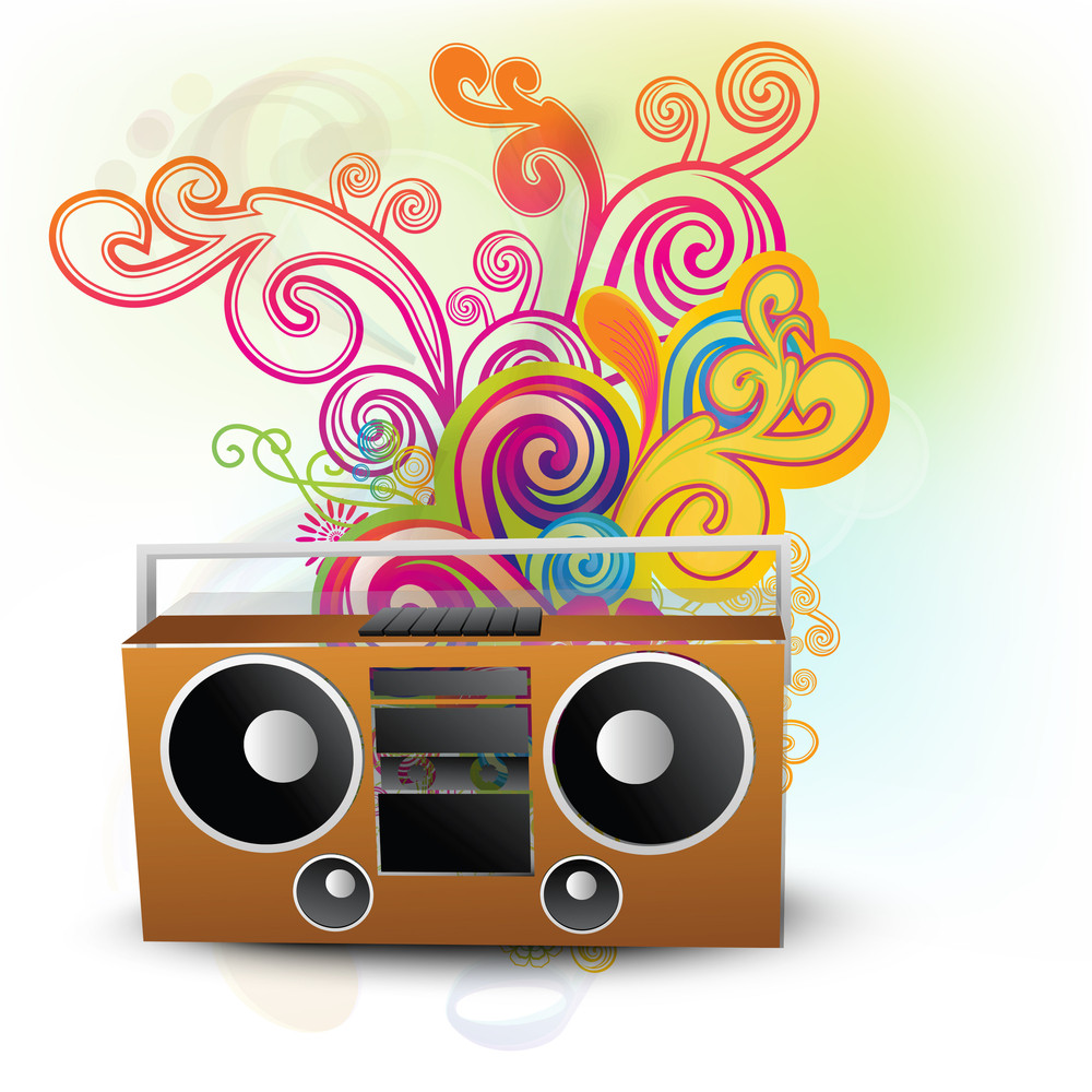 Abstract Musical Background With Radio And Floral Pattern