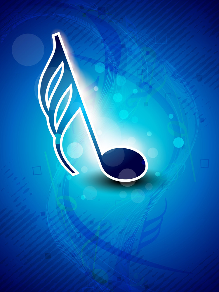 Abstract Musical Note On Blue Background