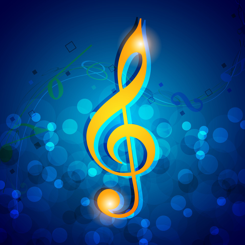 Abstract Musical Note On Blue Shiny Background
