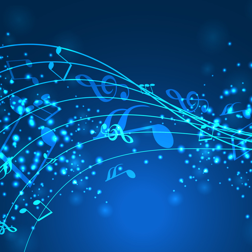 Abstract Musical Notes Blue Wave Background