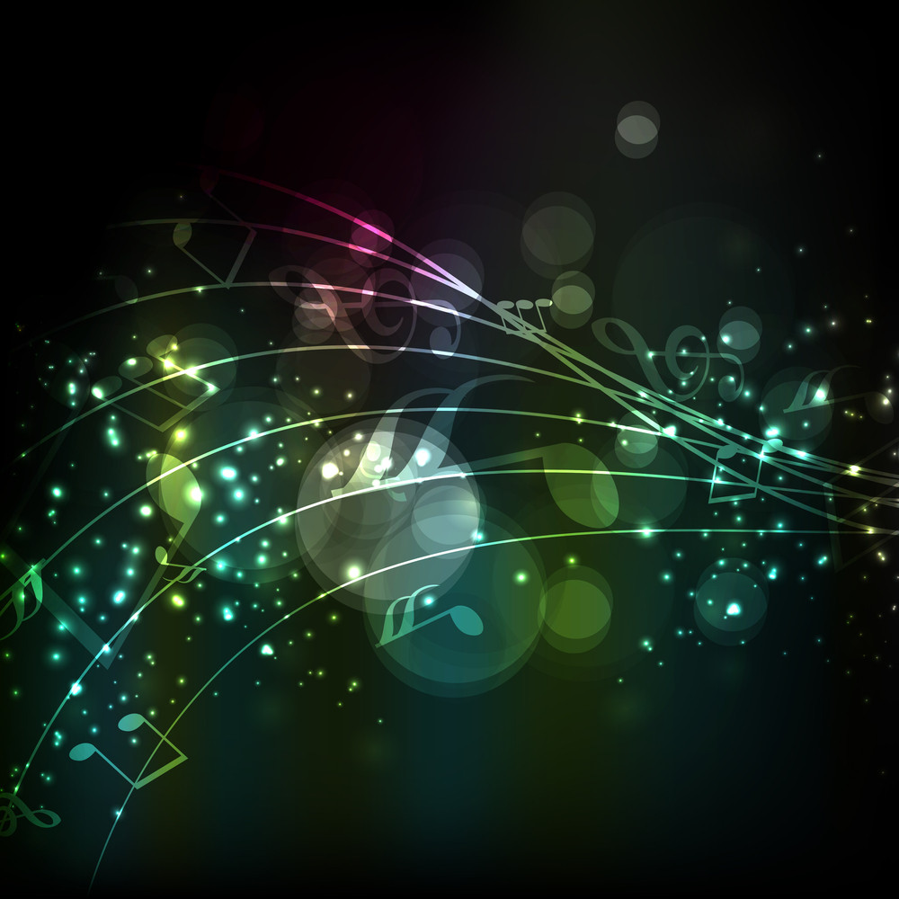 Abstract Musical Notes Colorful Wave Background