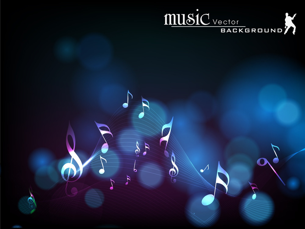 Abstract Musical Notes Wave Background.