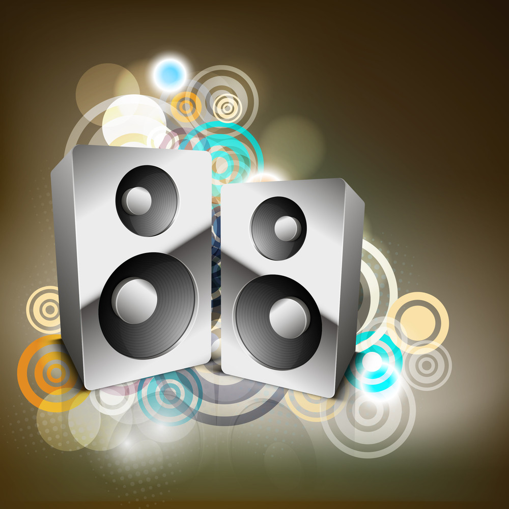 Abstract Musical Party Background With Speakers