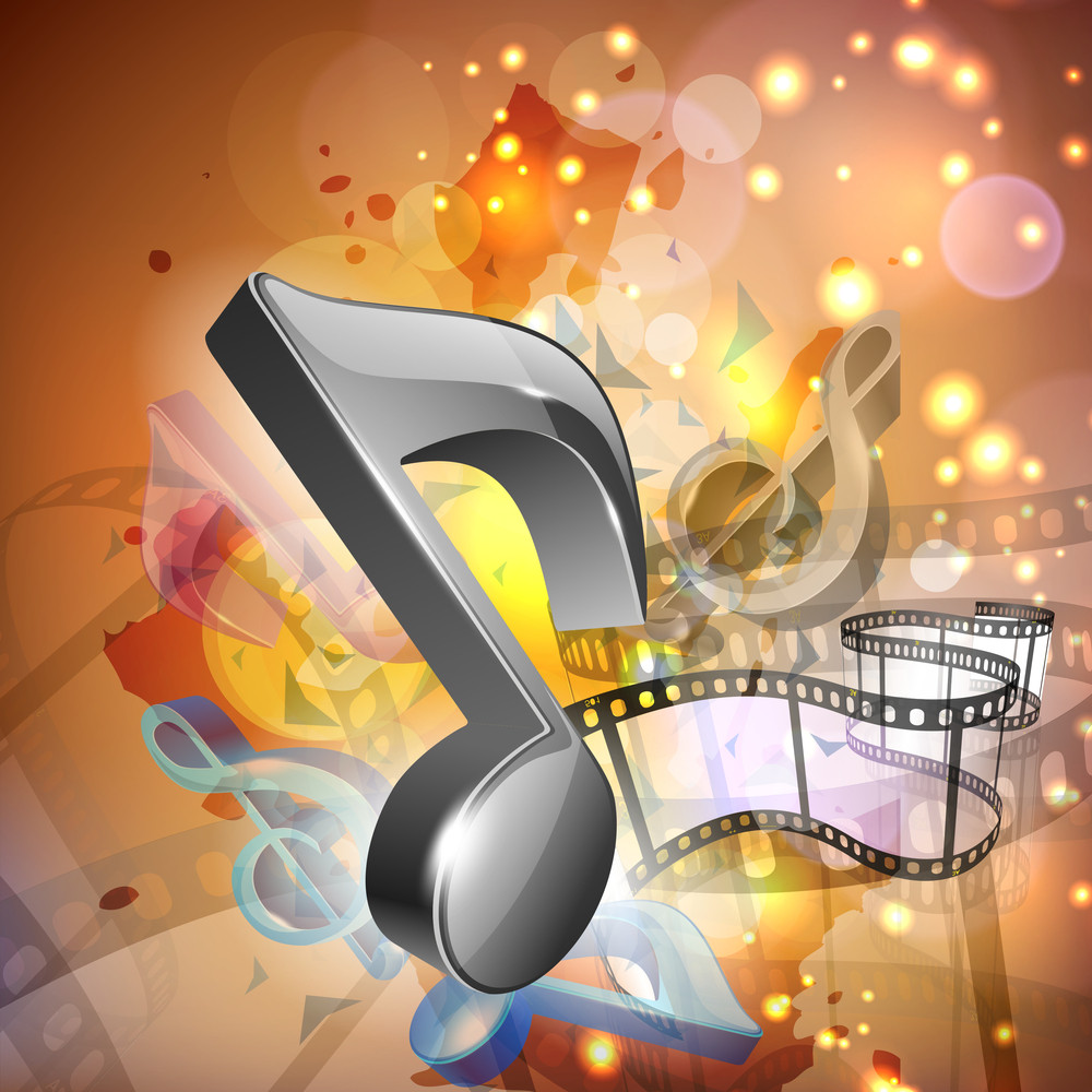Abstract Musical party concept on shiny background with music notes and film reel
