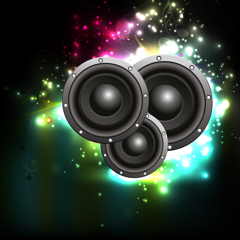 Abstract Musical Party Concept With Speakers On Shiny Background