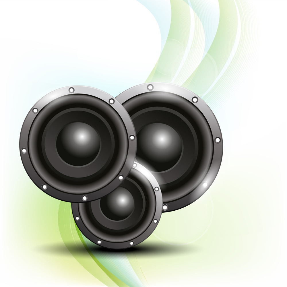 Abstract Musical Party Concept With Speakers On Waves Background