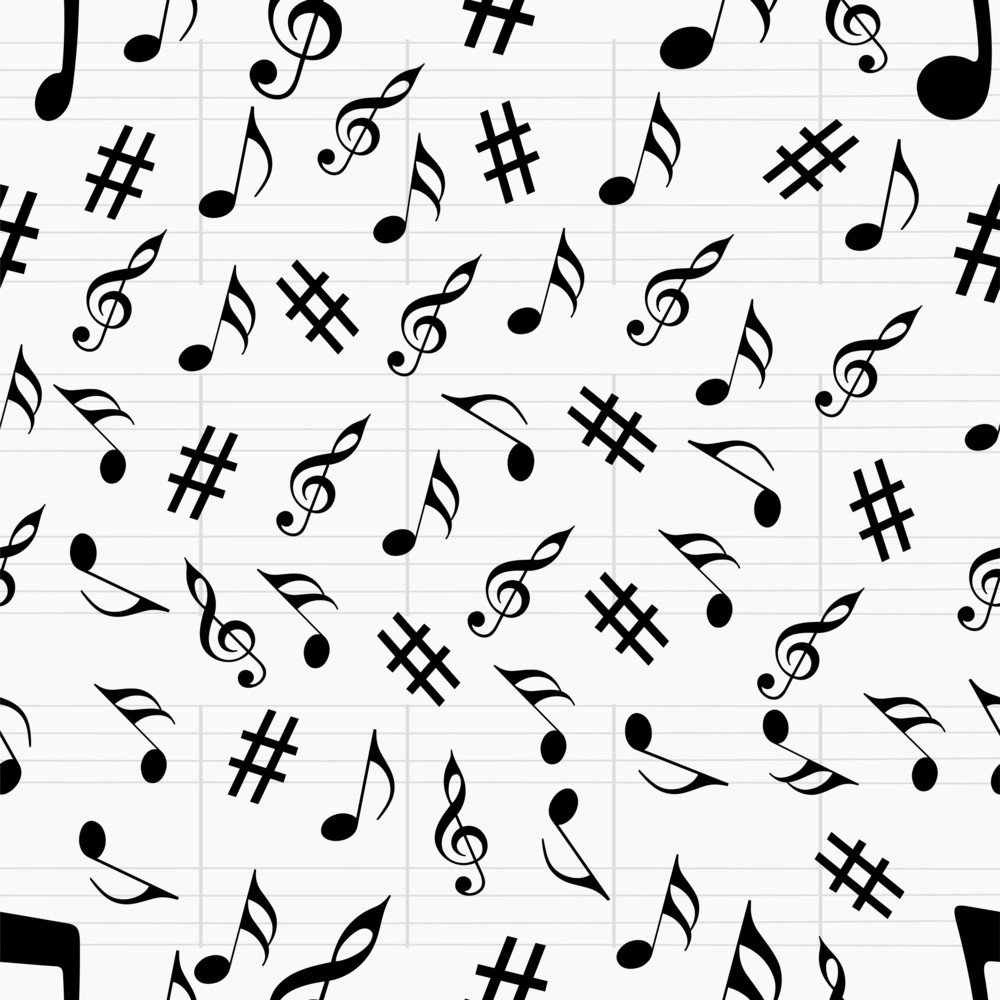 Abstract Musical Seamless Pattern.