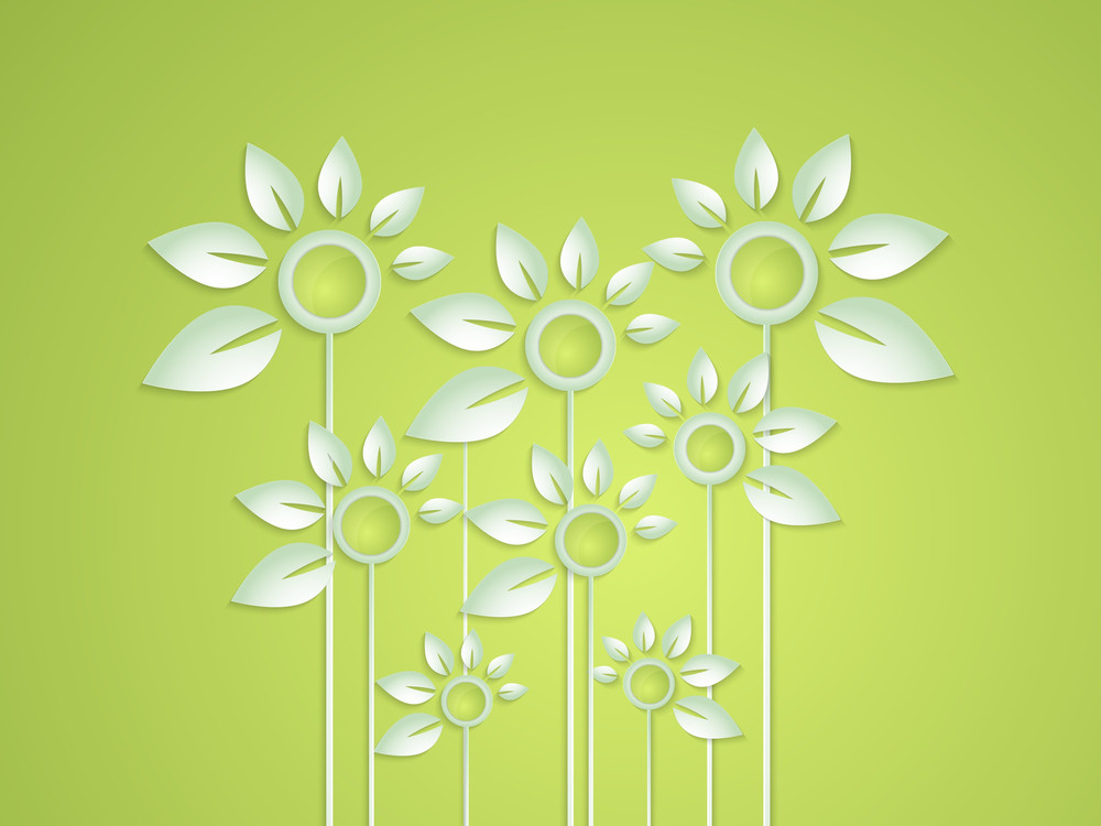 Abstract Nature Concept With Beautiful Flowers On Shiny Green Background.