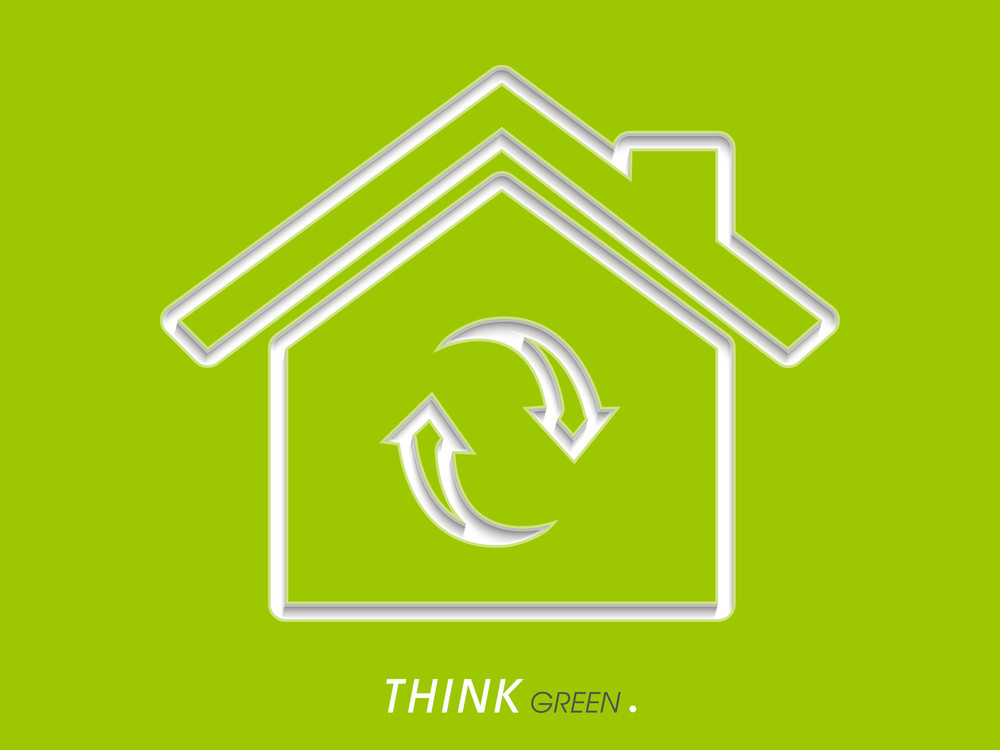 Abstract Nature  Concept With Eco House And Recycle Icon On Green Background.
