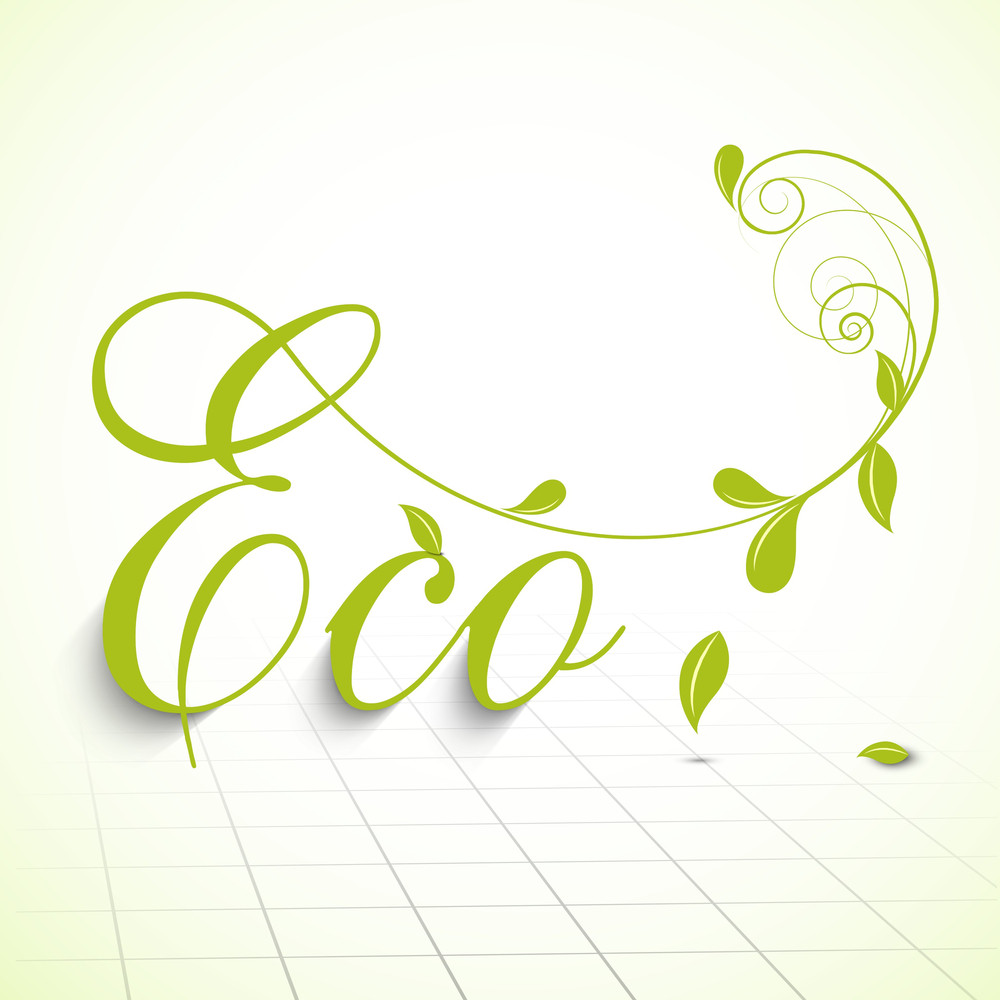 Abstract Nature Concept With Stylish Text And Green Leaves.