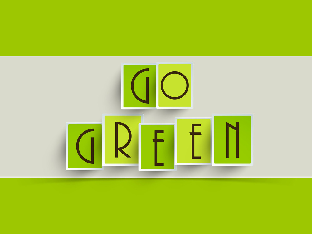 Abstract Nature Concept With Stylish Text Go Green On Green And Grey Background