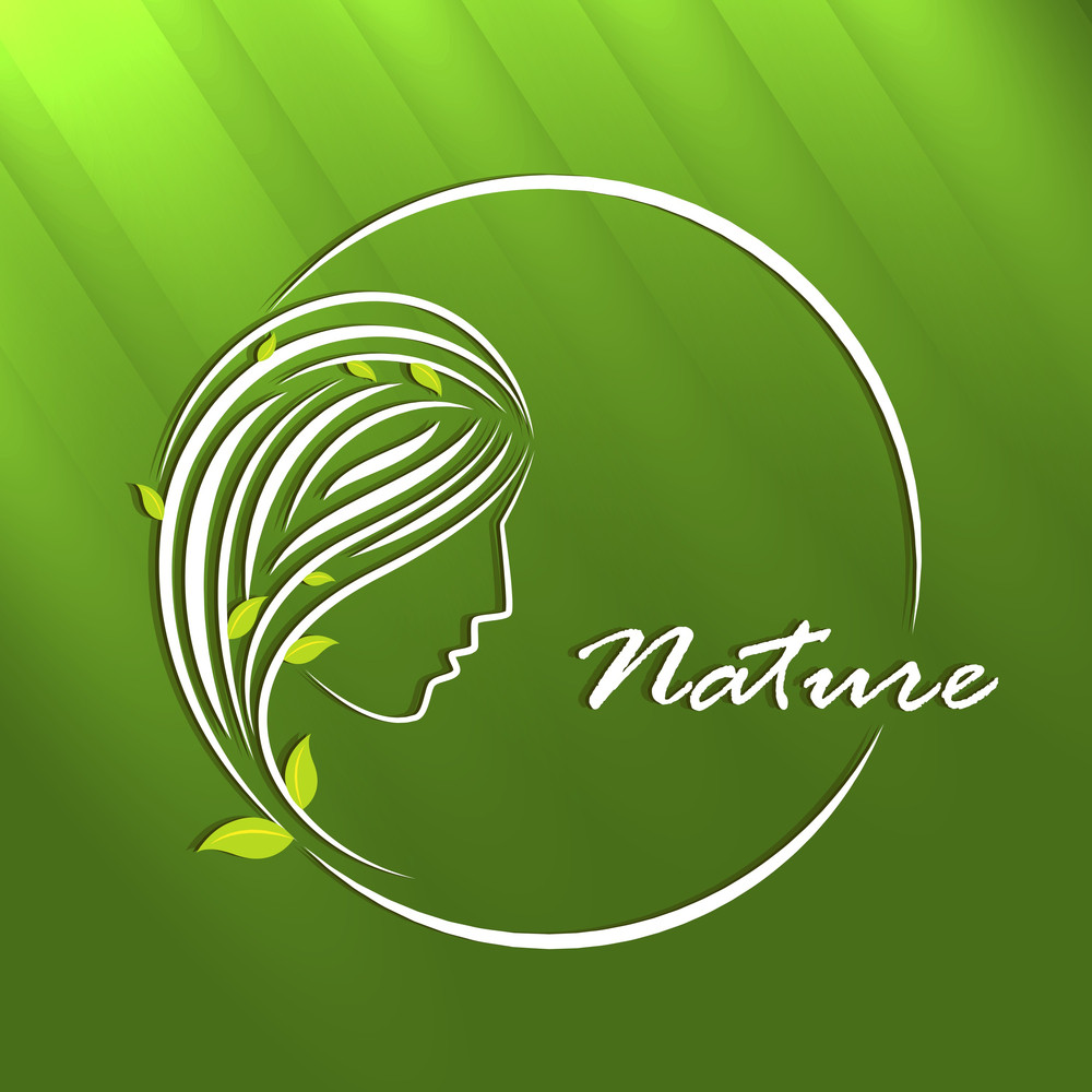 Abstract Nature Concept With Stylish Young Girl On Green Background.