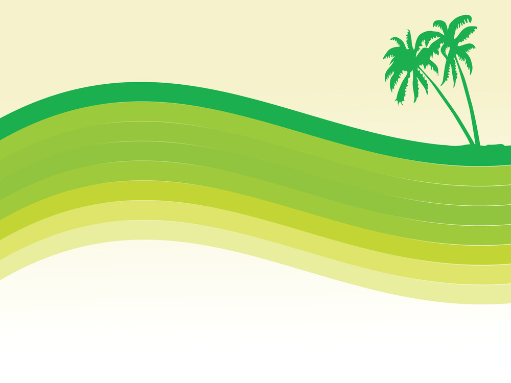 Abstract Palm Tree And Waves Wallpaper