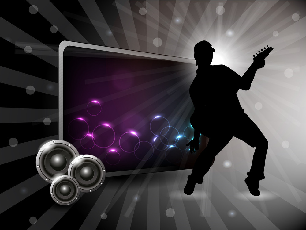 Abstract Party Night Background With Silhouette Of Guitarist. Vector.