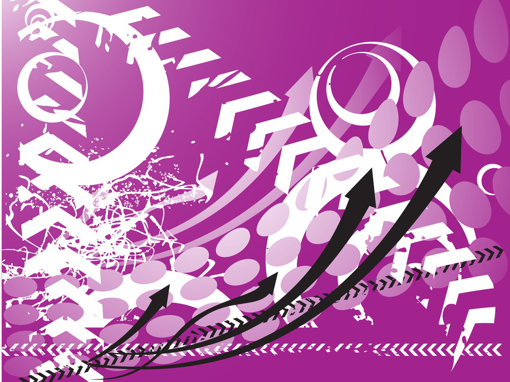 Abstract Purple Background With Arrows And Elements