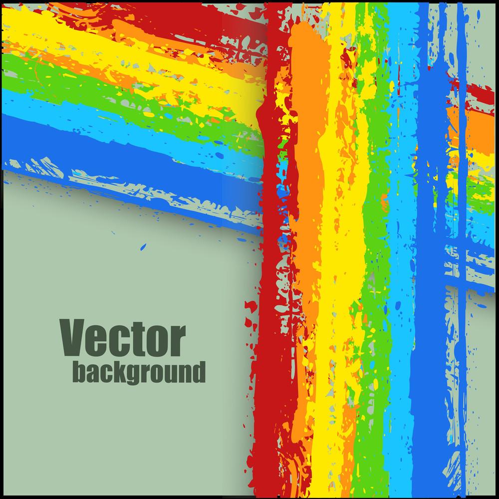 Abstract Rainbow Splash Striped Banner Vector
