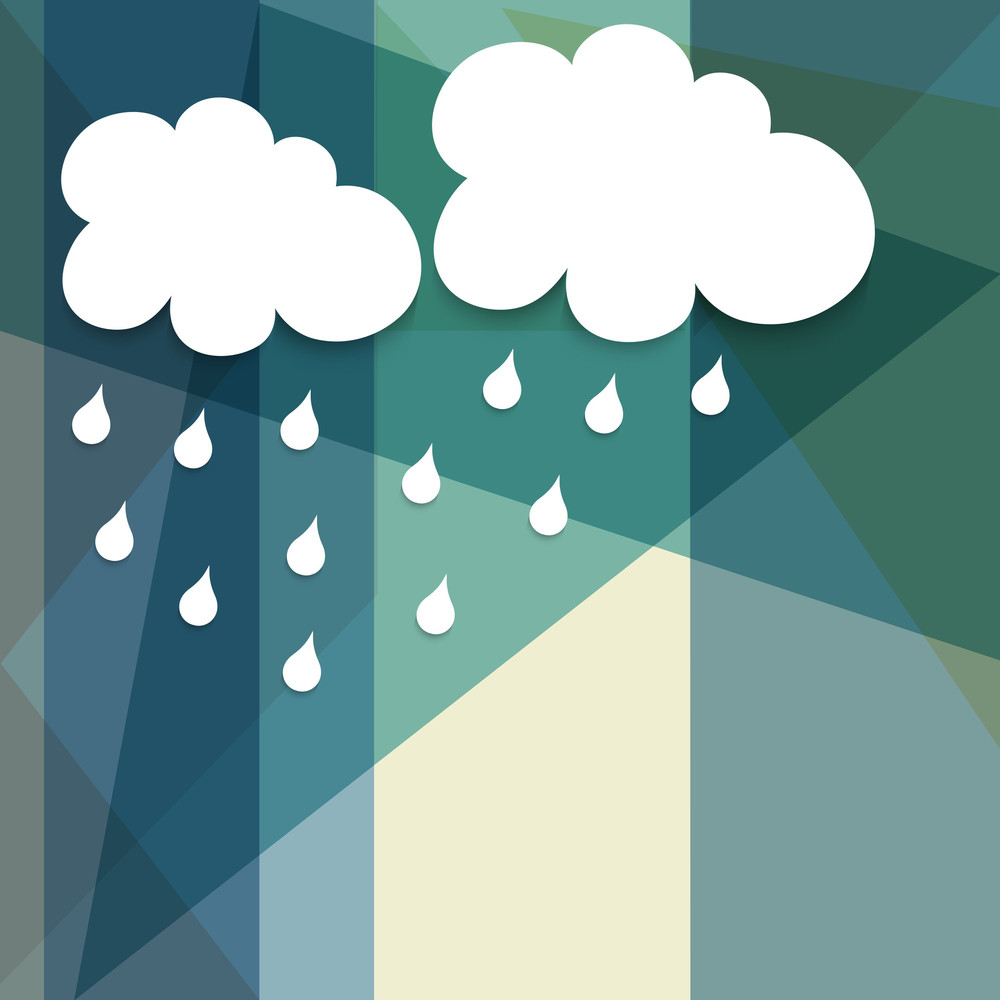 Abstract Rainy Season Background With Cloud And Rain Drops