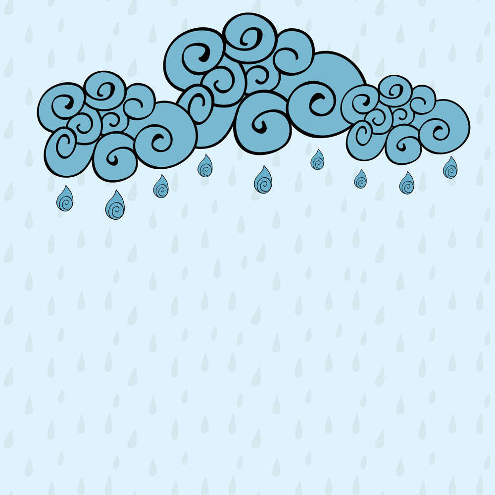 Abstract Rainy Season Background With Cloud And Raindrops