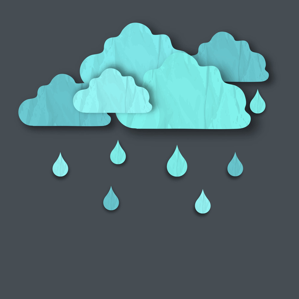 Abstract Rainy Season Background With Cloud And Waterdrops