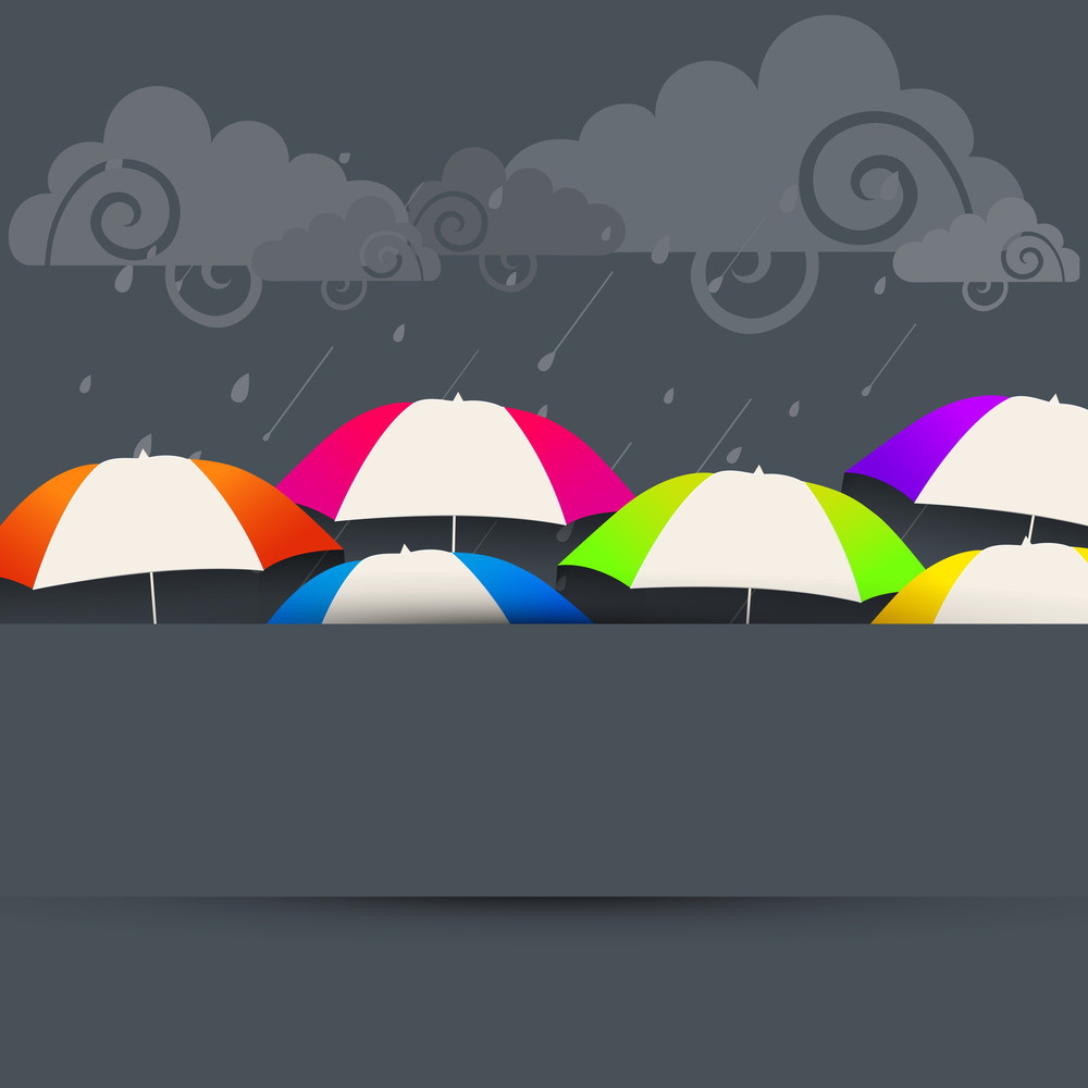 Abstract Rainy Season Background With Clouds And Umbrella