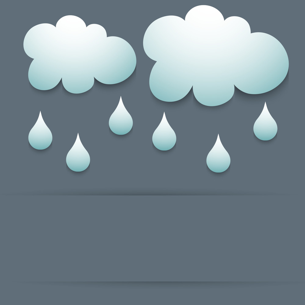Abstract Rainy Season Background With Clouds And Water Drops