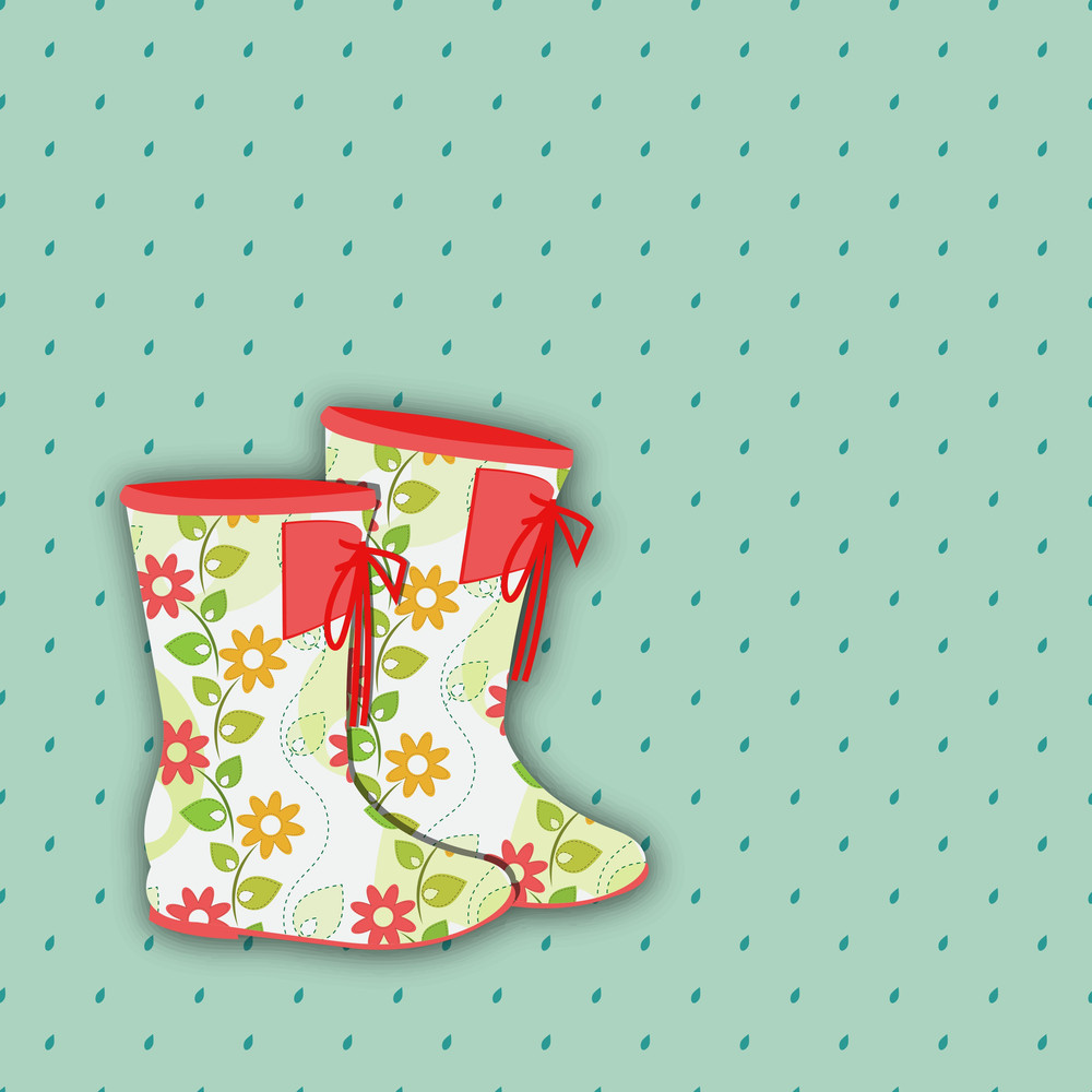 Abstract Rainy Season Background With Colorful Boots