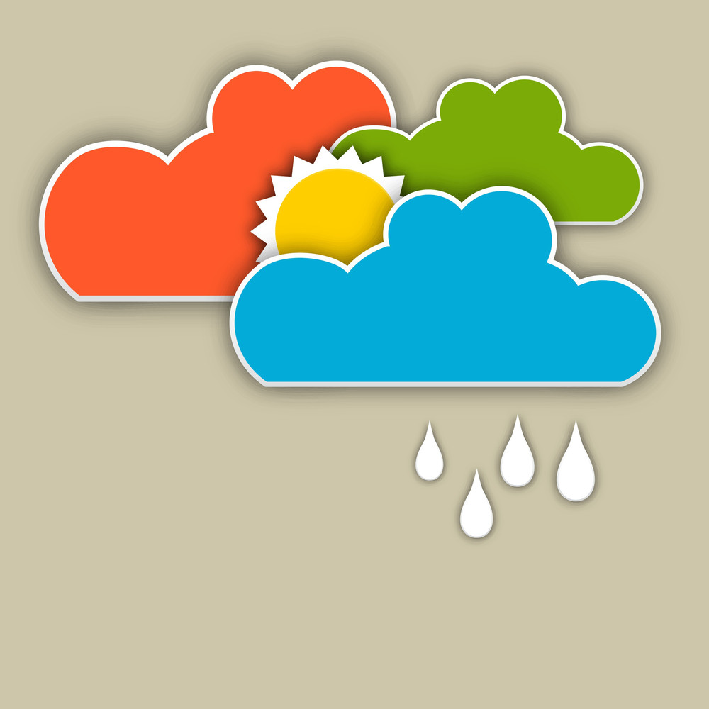 Abstract Rainy Season Background With Colorful Clouds And Raindrops