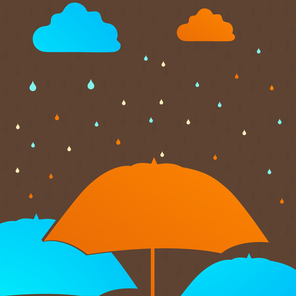 Abstract Rainy Season Background With Colorful Umbrella And Raindrops
