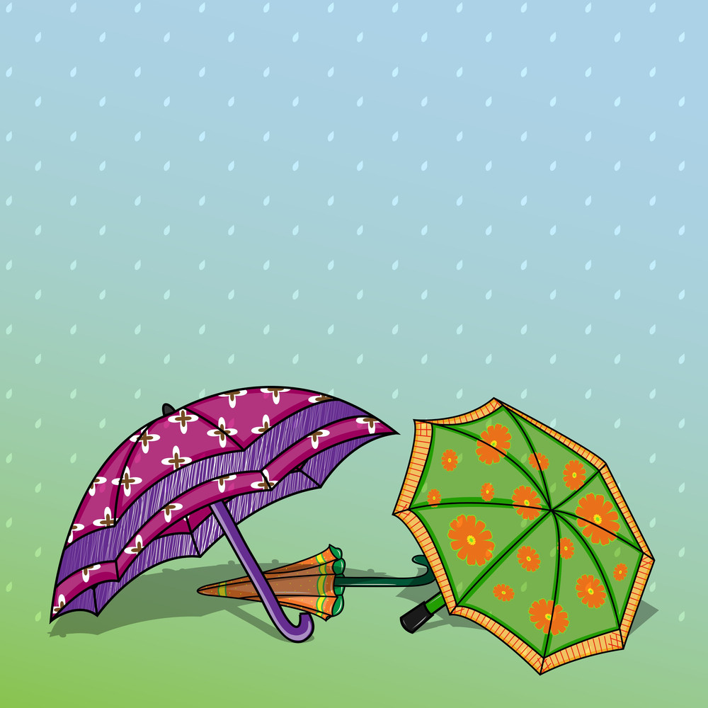 Abstract Rainy Season Background With Colorful Umbrellas