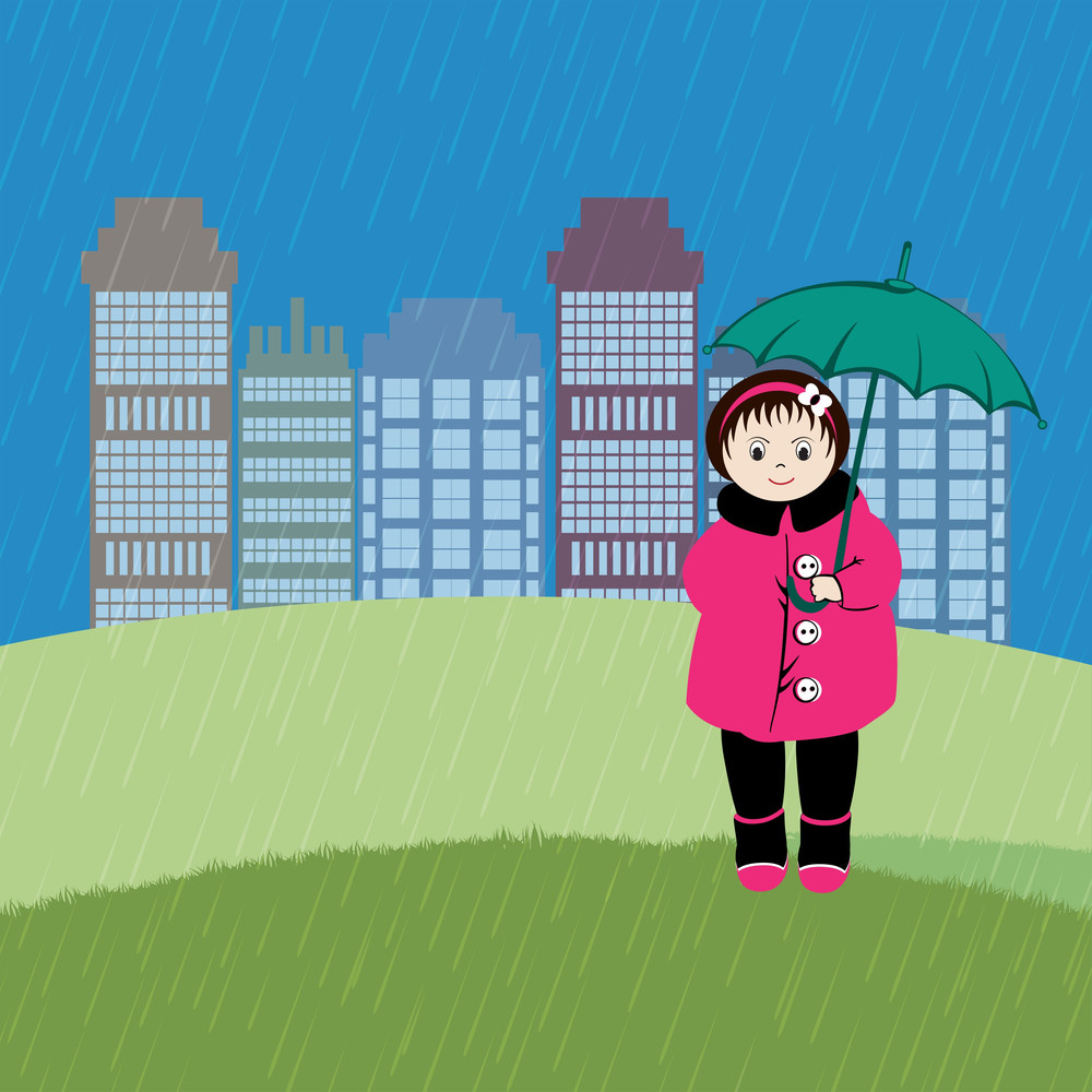 Abstract Rainy Season Background With Cute Girl Holding Umbrella