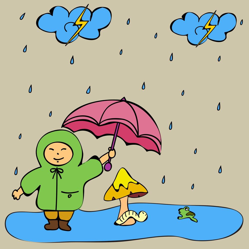 abstract rainy season background with cute kid royalty free stock