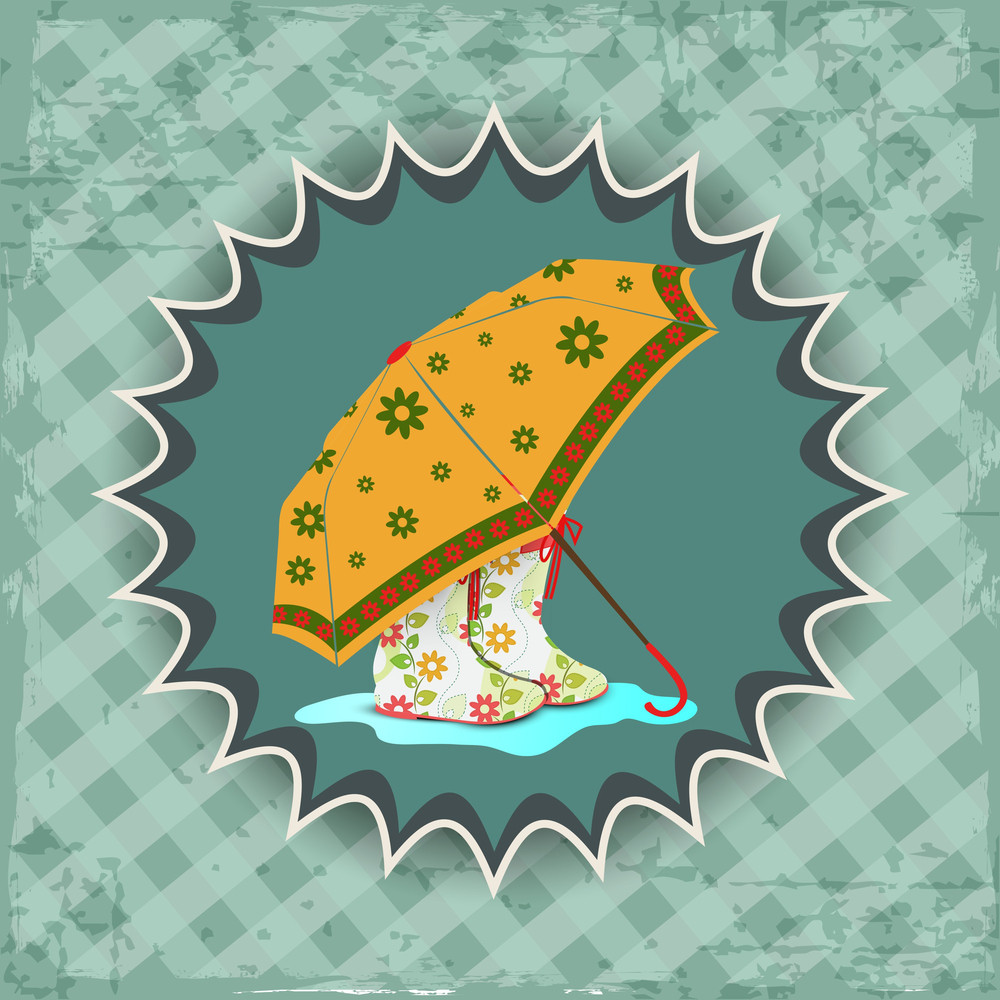 Abstract Rainy Season Background With Decorated Umbrella And Boots
