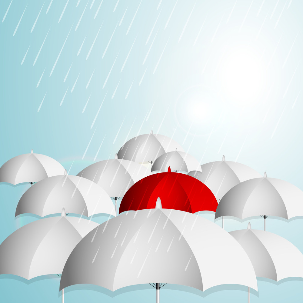 Abstract Rainy Season Background With Open Umbrellas