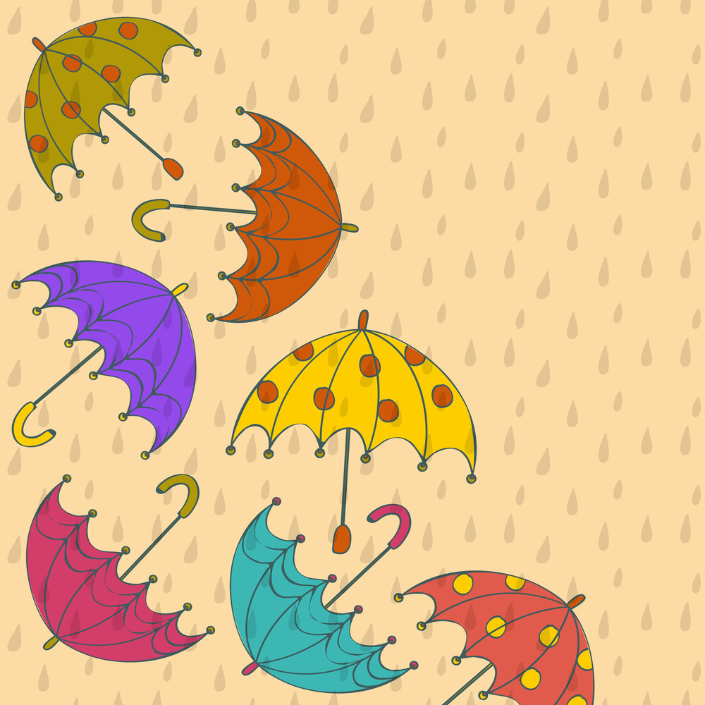 Abstract Rainy Season Background With Rain Drops And Colorful Umbrellas