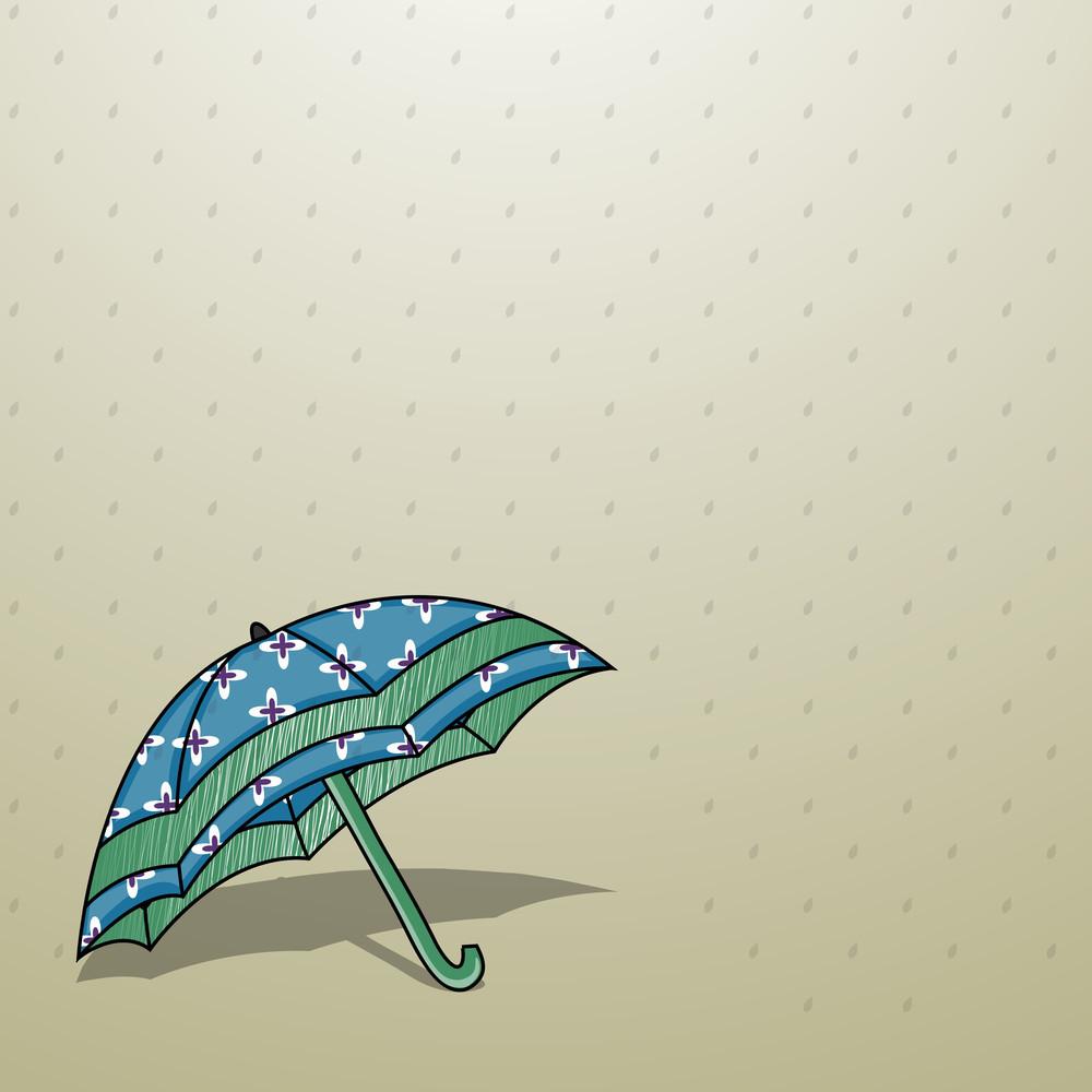 Abstract Rainy Season Background With Rain Drops And Umbrella
