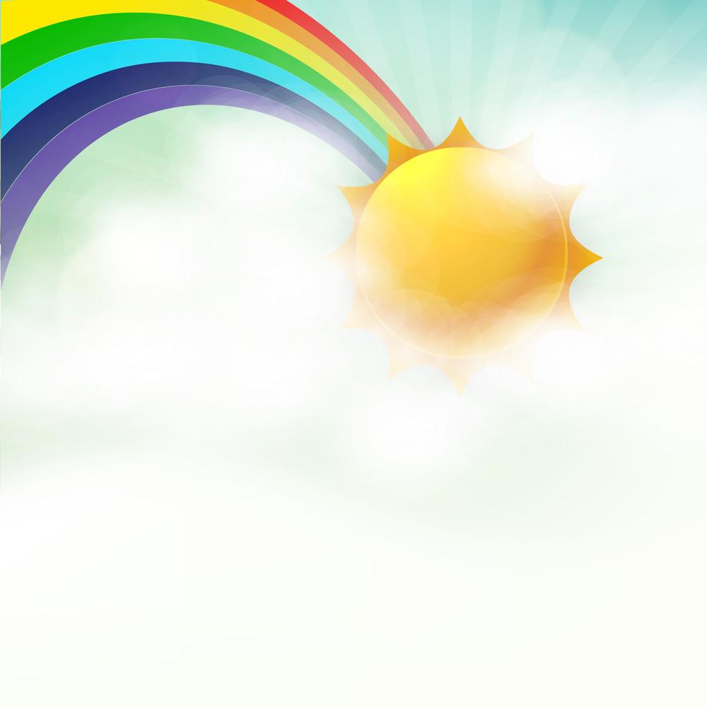Abstract Rainy Season Background With Rainbow