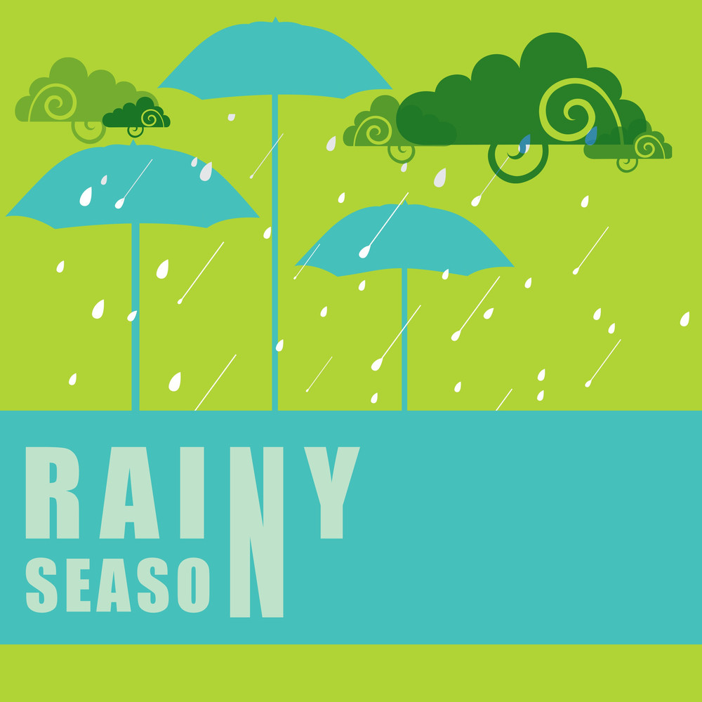 Abstract Rainy Season Background With Umbrella And Clouds