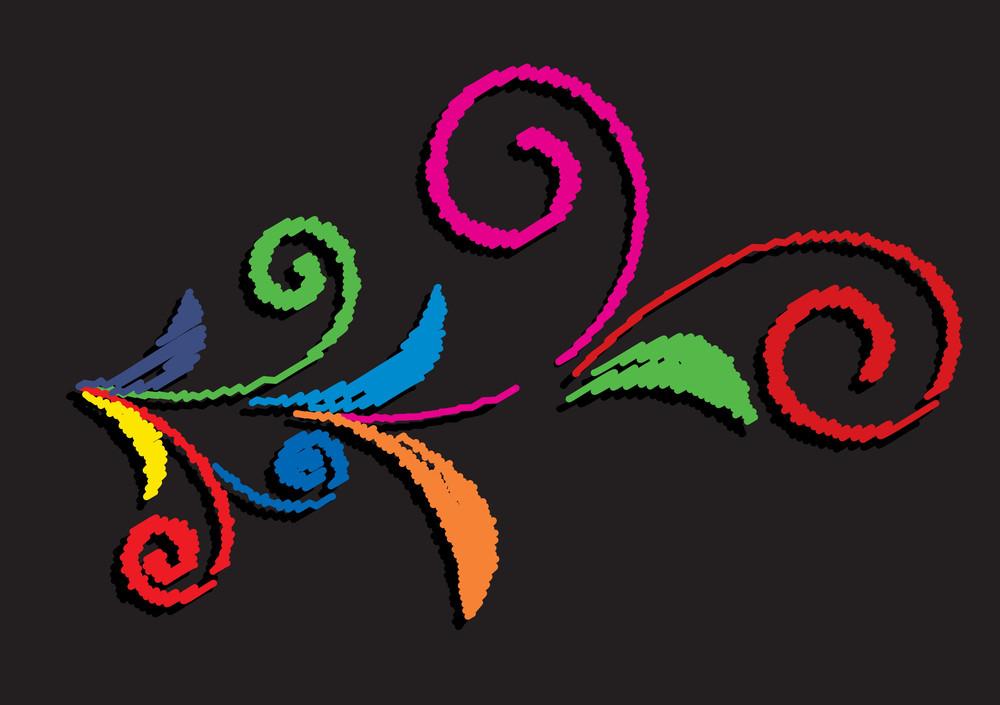 Abstract Retro Colored Flourish