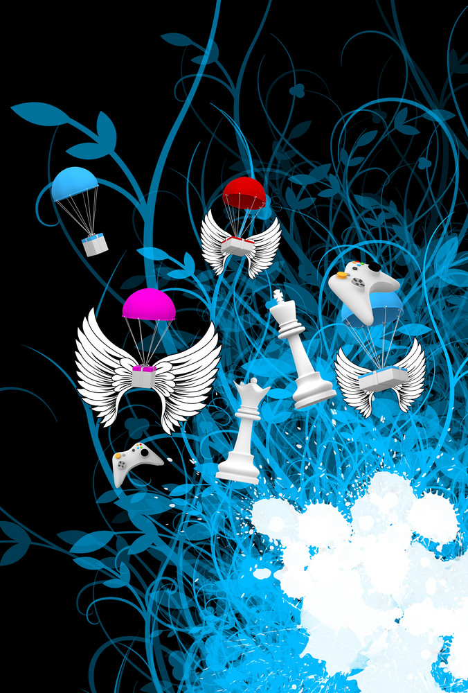 Abstract Retro Flying Objects Background