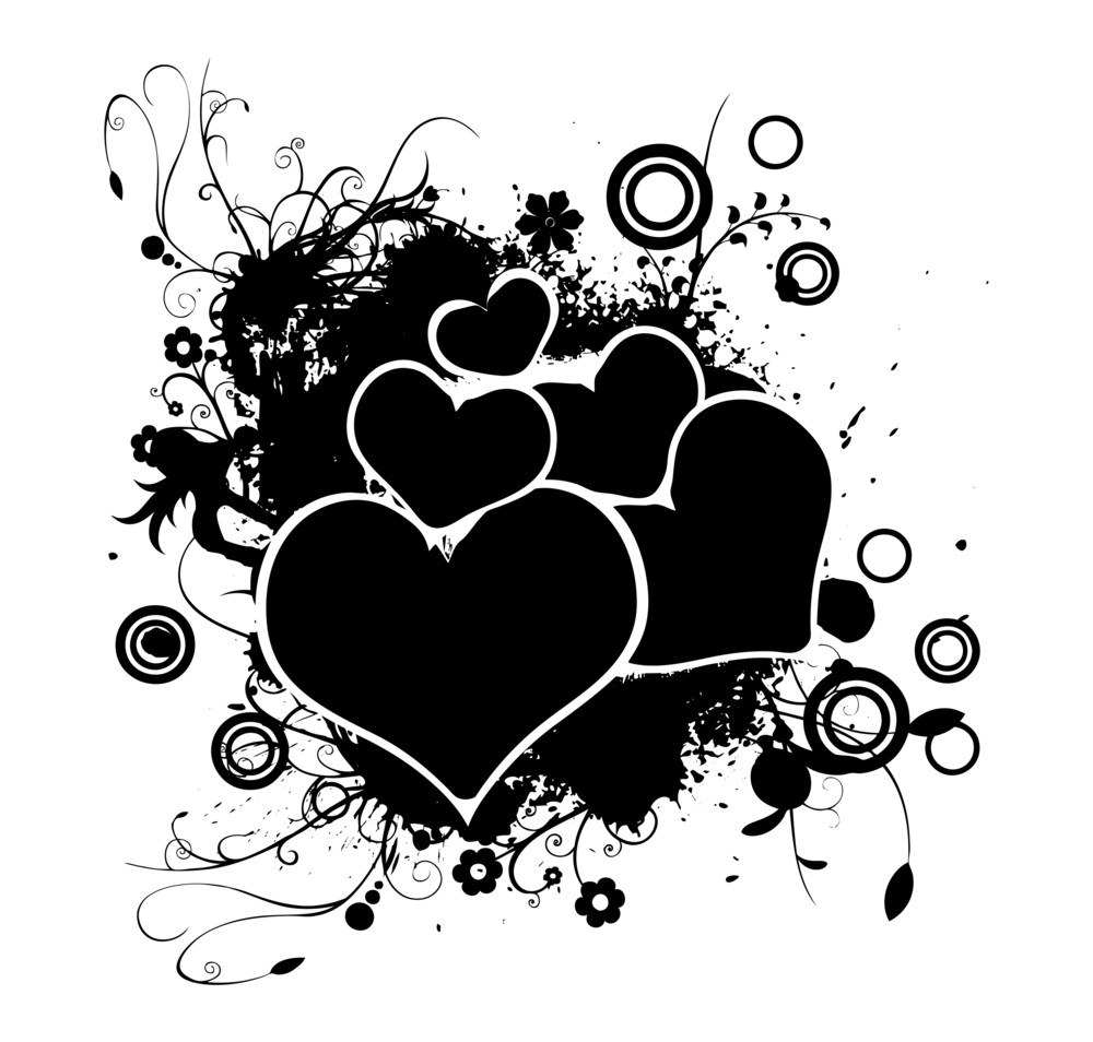 Abstract Retro Hearts Flourish Graphic