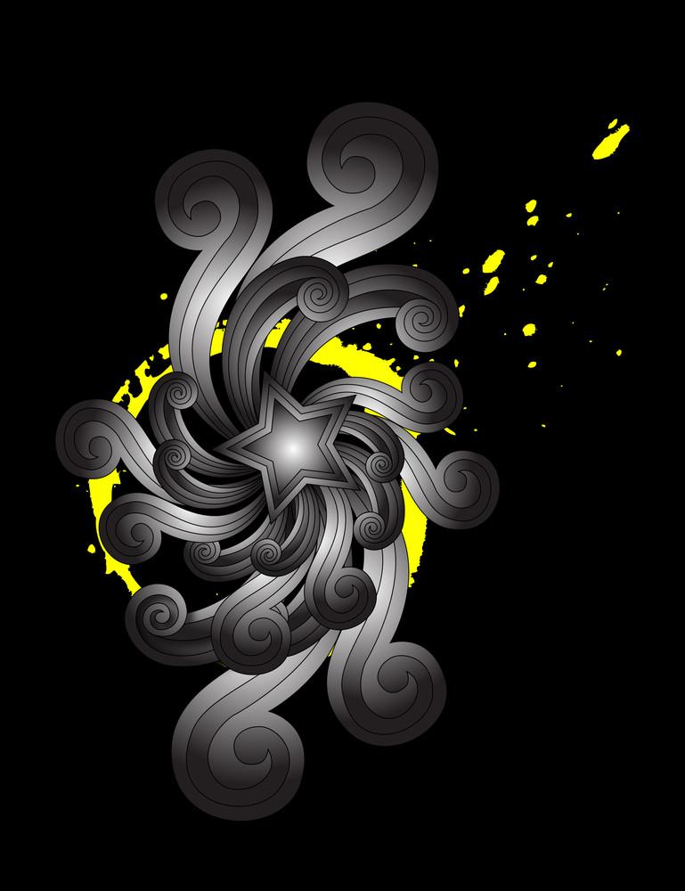Abstract Retro Star Floral Splash