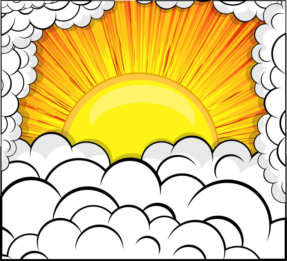 Abstract Retro Sunburst Clouds Background